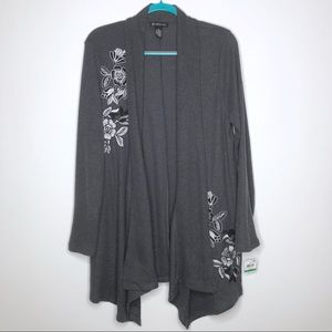 INC Embroidered Cardigan Large Draped Open Front